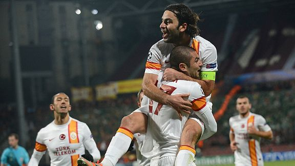 Galatasaray's Burak Yilmaz scored eight goals in the Champions League, including a hat-trick against Cluj