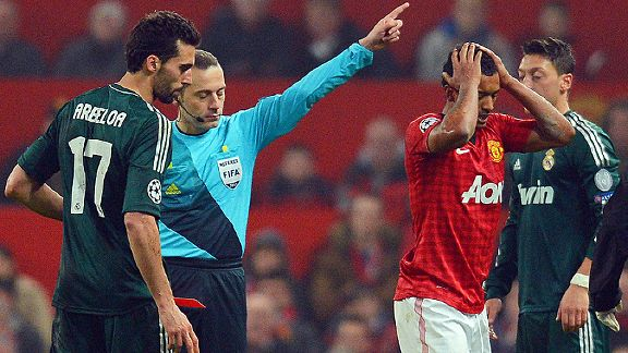 Manchester United's Nani saw red against Real Madrid, turning the tie the way of the Spanish giants