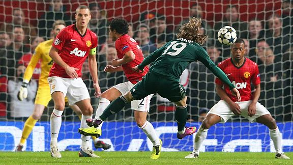 Luka Modric's fine long-range strike brought Real Madrid back into their game with Man United, and they went on to oust Sir Alex Ferguson's side