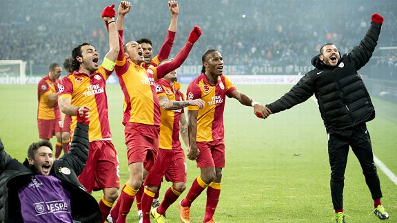 Galatasaray toast their superb Champions League victory at Schalke