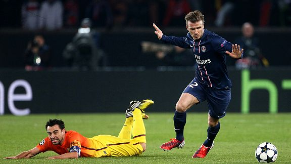 David Beckham, starting a Champions League game for the final time in his career in PSG colours, leaves Xavi on the deck