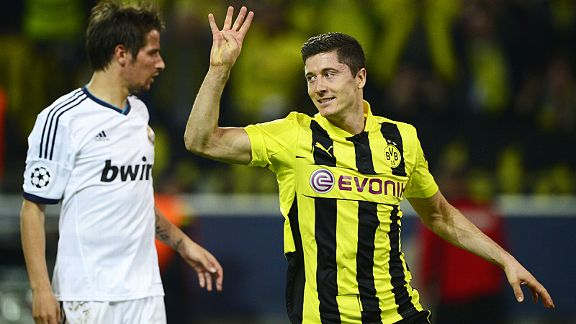 Robert Lewandowski scored all four goals as Borussia Dortmund thrashed Real Madrid
