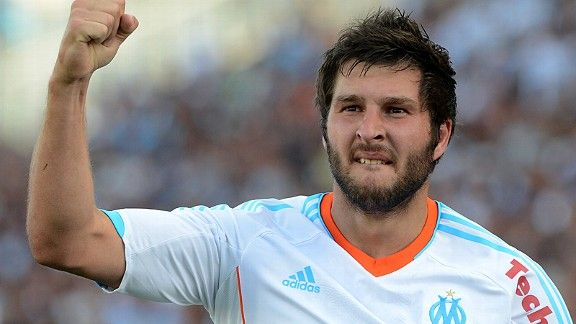 Andre-Pierre Gignac celebrates after putting Marseille in front