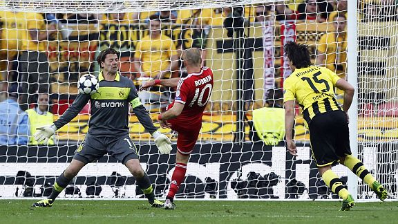 Roman Weidenfeller stands his ground to deny Arjen Robben for a second time