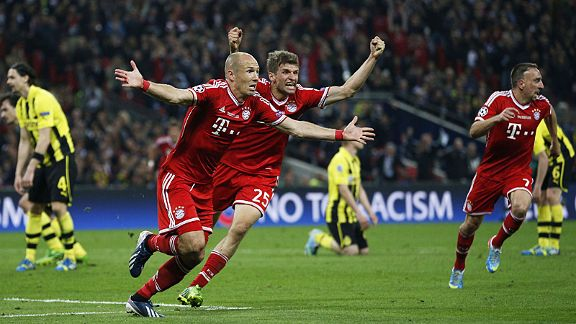 Arjen Robben turns to celebrate after scoring his late winner in the Champions League final