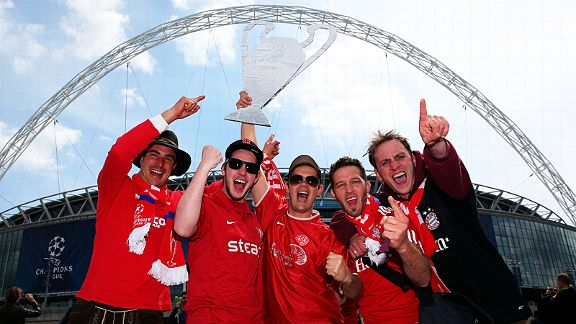 Bayern Munich fans get in the party mood outside Wembley