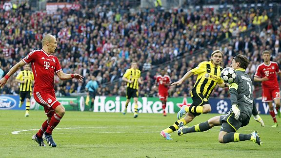 Roman Weidenfeller makes himself big to deny Arjen Robben