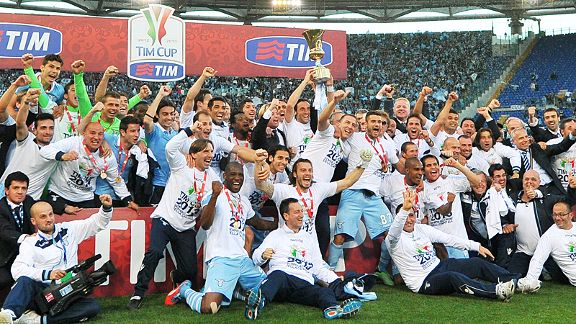 Lazio get the party started after beating Roma 1-0 in the Coppa Italia final
