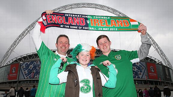 Ireland fans arrive at a dark and gloomy Wembley