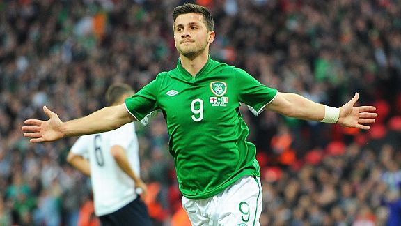 Shane Long celebrates after heading Ireland in front after 13 minutes at Wembley