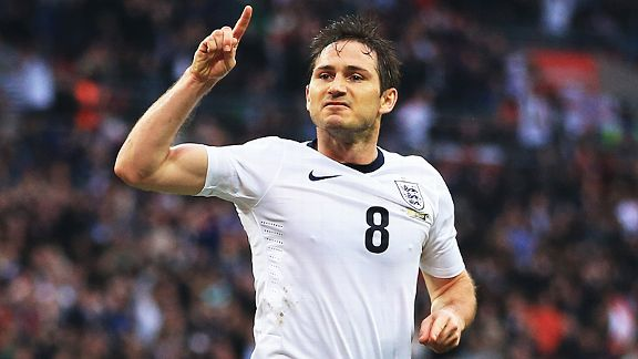Frank Lampard celebrates his equaliser for England against Ireland