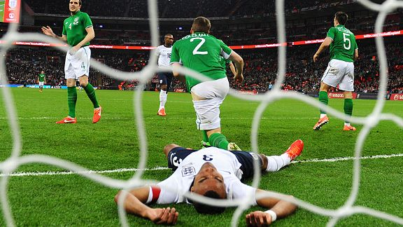 Ashley Cole came close to an unlikely second-half winner for England against Ireland