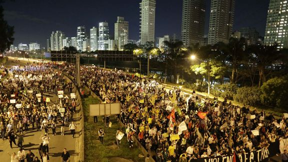 Brazil Protestors march in Sao Paulo
