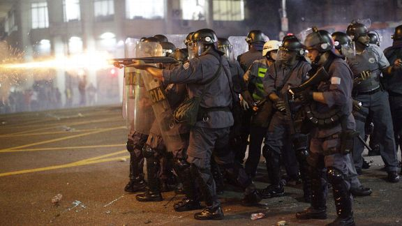 Police fire rubber bullets in Sao Paulo.