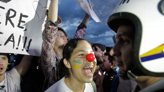 demonstrator shouts police protests Brasilia