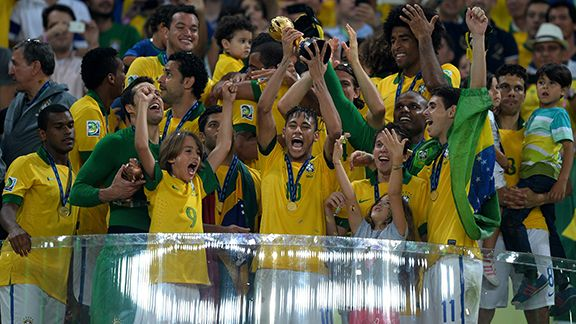 Brazil hold the Confed Cup aloft