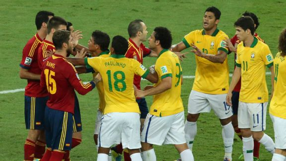 Tensions threaten to boil over in a tense opening to the Confederations Cup final.