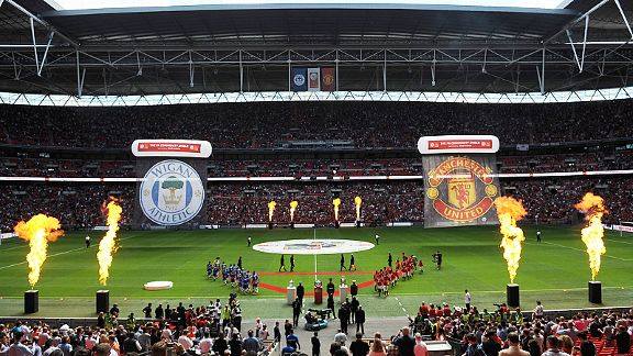 The teams come out for the 2013 FA Community Shield