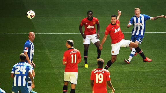 Robin van Persie arrows home a header to give Manchester United the edge