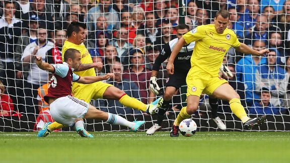 Joe Cole was on target for West Ham against Cardiff.