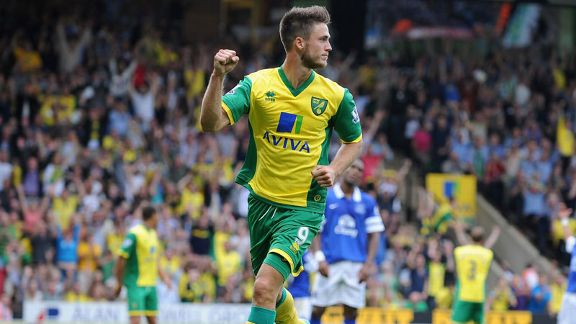 Ricky van Wolfswinkel scored on his Norwich debut against Everton.