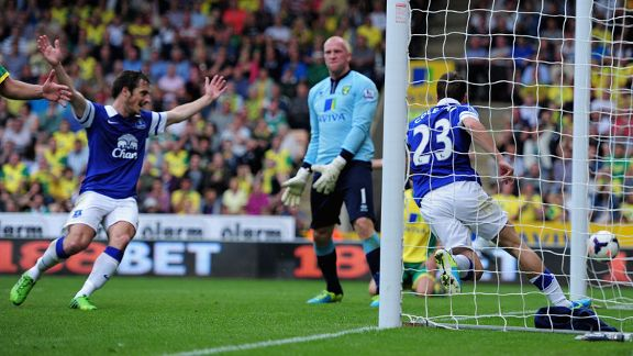 Seamus Coleman wheels away after scoring for Everton at Norwich.