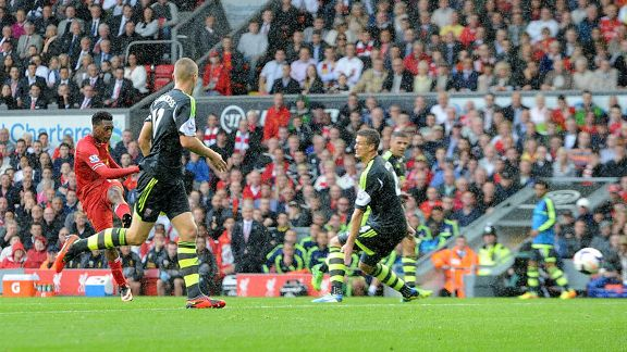 Daniel Sturridge scores for Liverpool against Stoke.
