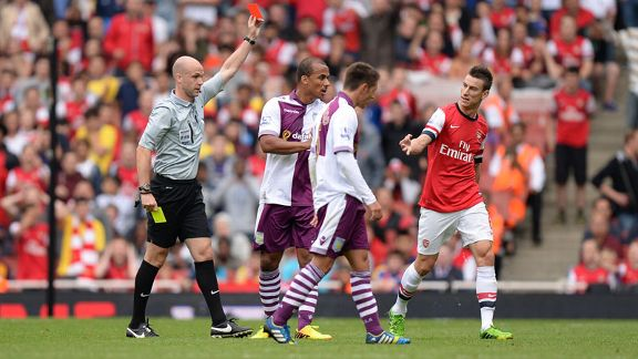 Arsenal defender Laurent Koscielny is sent off against Aston Villa.