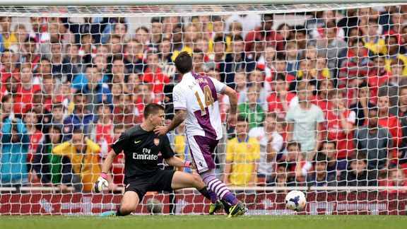 Antonio Luca scored Aston Villa's third goal against Arsenal.