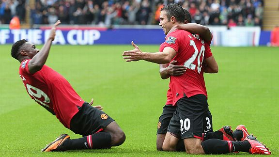 Robin van Persie grabbed two, with Danny Welbeck also on the scoresheet, in United's win at Swansea