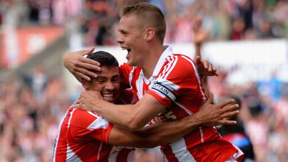 Ryan Shawcross celebrates giving Stoke the lead against Palace.