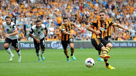 Robbie Brady fires Hull into the lead against Norwich from the penalty spot.