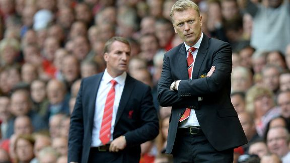 David Moyes and Brendan Rodgers Liverpool v Man Utd