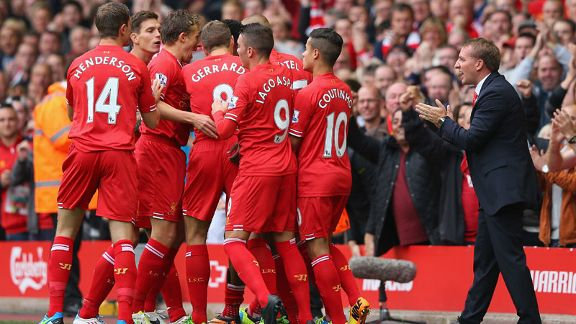 Liverpool players celebrate after taking the lead against Man United.