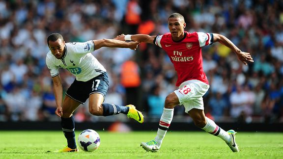 Andros Townsend and Kieran Gibbs do battle in the north London derby.