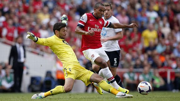 Theo Walcott is tackled by Hugo Lloris during the north London derby.