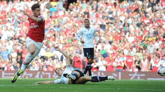 Olivier Giroud gives Arsenal the lead against Tottenham.