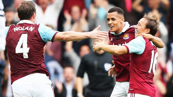 West Ham celebrate after Ravel Morrison scored his first-ever Premier League goal.