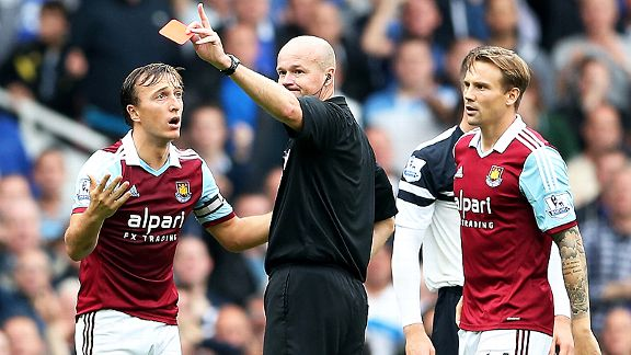 Mark Noble receives his marching orders against Everton.