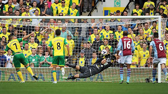 Brad Guzan saves Robert Snodgrass' first-half penalty with the score at 0-0.
