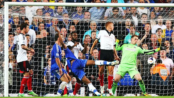 John Obi Mikel scores his first-ever Premier League goal.