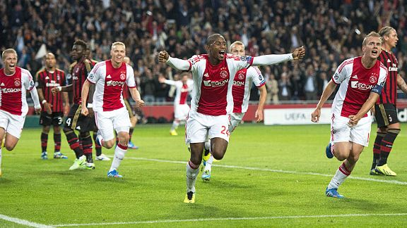 Ajax are ecstatic after Stefano Denswil scored against AC Milan, but they would not hold onto their lead.