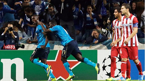 Jackson Martinez celebrates after giving FC Porto the lead against Atletico Madrid.