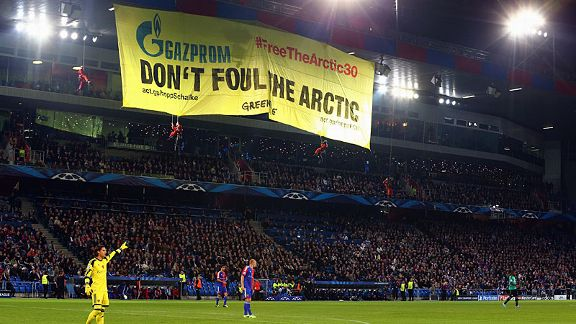 Greenpeace protest against Champions League sponsors Gazprom at the game between Basel and Schalke.