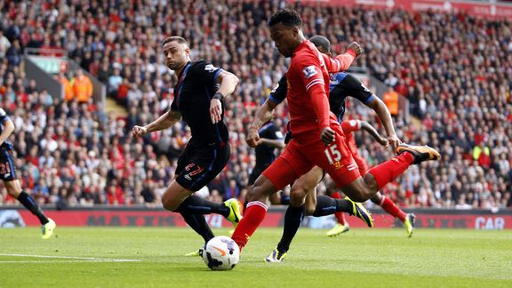 Daniel Sturridge scores Liverpool's second goal against Crystal Palace.