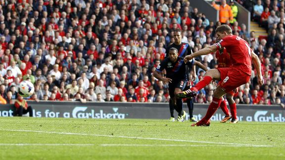 Steven Gerrard puts Liverpool 3-0 up against Crystal Palace.