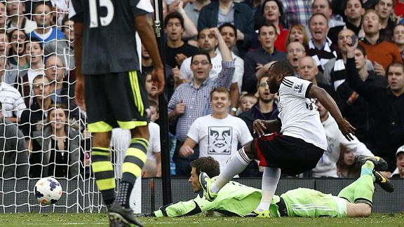 Substitute Darren Bent scores for Fulham against Stoke.