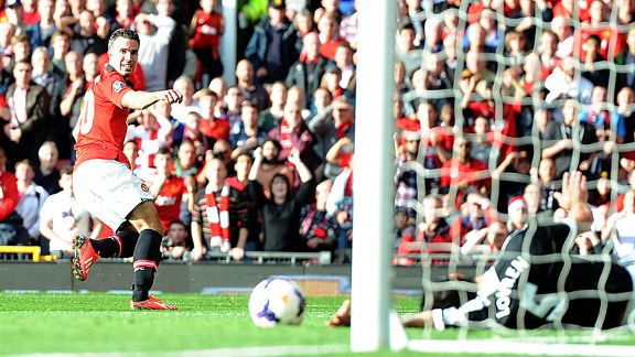 Robin van Persie fires Manchester United into the lead against Southampton.
