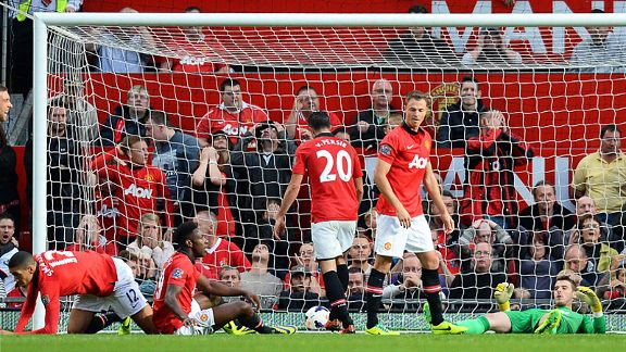 Manchester United's players are floored after Southampton stole an 89th-minute leveller.