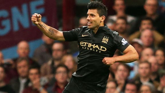Sergio Aguero celebrates after giving Manchester City the early lead at West Ham.